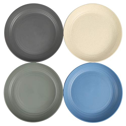 Shopwithgreen Lightweight Wheat Straw Plates 4 Pack 78 Unbreakable Dinner Plates Dishwasher Microwave Safe BPA Free For KidsChildrenToddler Adult 0 1