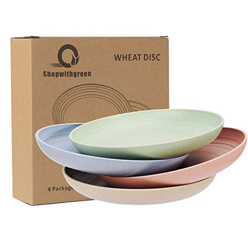 Shopwithgreen Lightweight Wheat Straw Plates 4 Pack 78 Unbreakable Dinner Plates Dishwasher Microwave Safe BPA Free For KidsChildrenToddler Adult 0 5