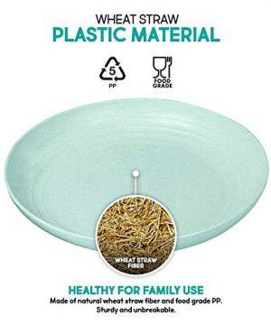 Shopwithgreen Lightweight Wheat Straw Plates 4 Pack 78 Unbreakable Dinner Plates Dishwasher Microwave Safe BPA Free For KidsChildrenToddler Adult 0 6 300x360
