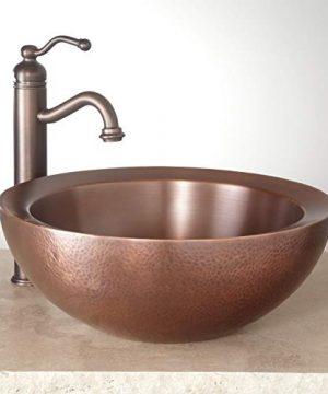 Signature Hardware 346799 Casalina 16 Circular Double Wall Hammered Copper Vessel Bathroom Sink 0 300x360