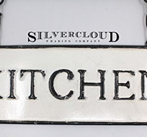 Silvercloud Trading Co Rustic Hanging Double Sided Kitchen Embossed Black On White Enamel Metal Sign With Bracket Restaurant Wall Decor Room Label 0 1 300x280