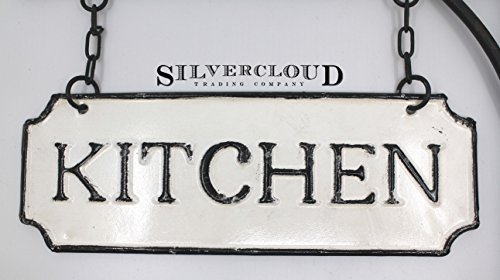Silvercloud Trading Co Rustic Hanging Double Sided Kitchen Embossed Black On White Enamel Metal Sign With Bracket Restaurant Wall Decor Room Label 0 1