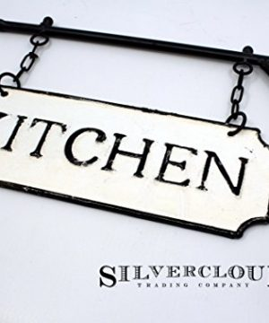 Silvercloud Trading Co Rustic Hanging Double Sided Kitchen Embossed Black On White Enamel Metal Sign With Bracket Restaurant Wall Decor Room Label 0 2 300x360