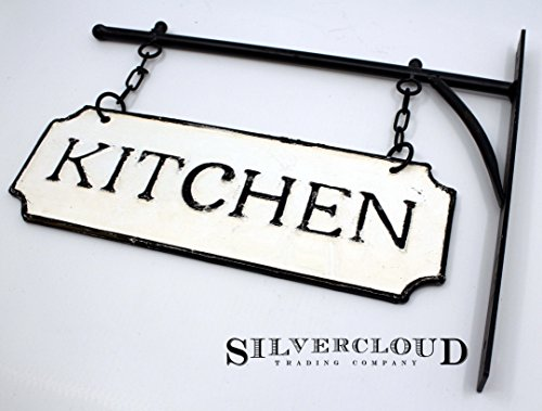 Silvercloud Trading Co Rustic Hanging Double Sided Kitchen Embossed Black On White Enamel Metal Sign With Bracket Restaurant Wall Decor Room Label 0 2