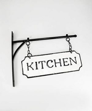 Silvercloud Trading Co Rustic Hanging Double Sided Kitchen Embossed Black On White Enamel Metal Sign With Bracket Restaurant Wall Decor Room Label 0 4 300x360