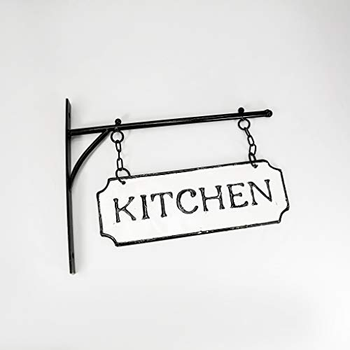 Silvercloud Trading Co Rustic Hanging Double Sided Kitchen Embossed Black On White Enamel Metal Sign With Bracket Restaurant Wall Decor Room Label 0 4