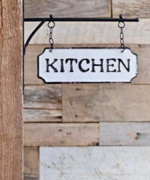 Silvercloud Trading Co Rustic Hanging Double Sided Kitchen Embossed Black On White Enamel Metal Sign With Bracket Restaurant Wall Decor Room Label 0 5 300x360