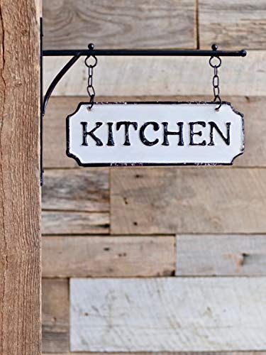 Silvercloud Trading Co Rustic Hanging Double Sided Kitchen Embossed Black On White Enamel Metal Sign With Bracket Restaurant Wall Decor Room Label 0 5