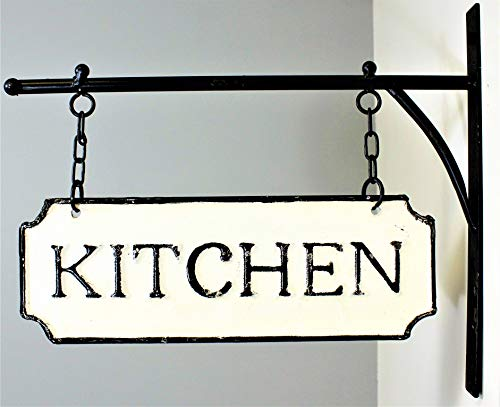 Silvercloud Trading Co Rustic Hanging Double Sided Kitchen Embossed Black On White Enamel Metal Sign With Bracket Restaurant Wall Decor Room Label 0