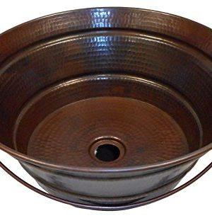 SimplyCopper 15 Rustic Round Copper BUCKET Vessel Bathroom Sink 0 300x308