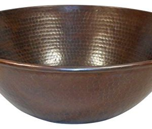 SimplyCopper Rustic 14 Round Mexican Copper Vessel Bathroom Sink 0 300x255