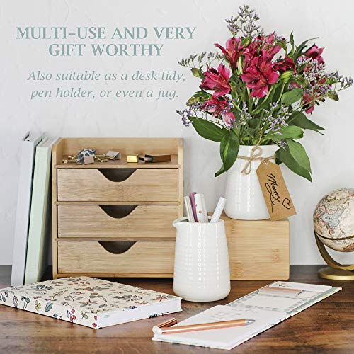 Small Vase 43 Inch With Heart Shape Opening Ceramic Vase Decor For Shelves Petite Decorative Flower Vase Makeup Brush Organizer Creamer Pitcher Or Pen Holder 0 3