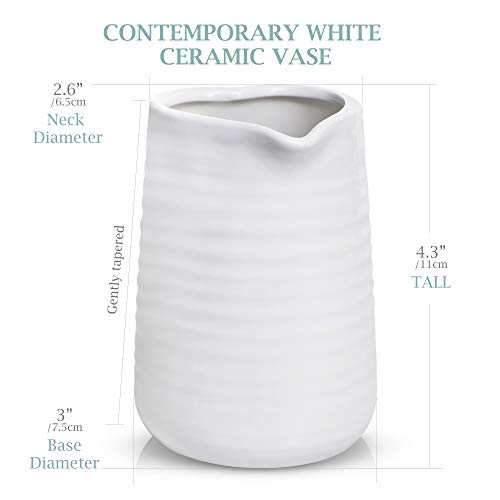 Small Vase 43 Inch With Heart Shape Opening Ceramic Vase Decor For Shelves Petite Decorative Flower Vase Makeup Brush Organizer Creamer Pitcher Or Pen Holder 0 4