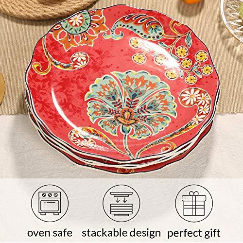 Sonemone Farmhouse Floral 875 Inch Scalloped Salad Plates Set Of 4 For Salad Appetizer Microwave Dishwasher Safe 0 1