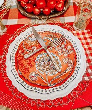Sonemone Farmhouse Floral 875 Inch Scalloped Salad Plates Set Of 4 For Salad Appetizer Microwave Dishwasher Safe 0 2 300x360