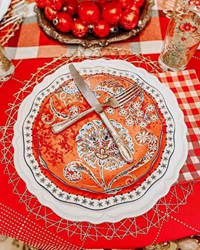 Sonemone Farmhouse Floral 875 Inch Scalloped Salad Plates Set Of 4 For Salad Appetizer Microwave Dishwasher Safe 0 2