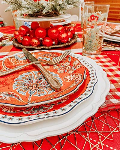 Sonemone Farmhouse Floral 875 Inch Scalloped Salad Plates Set Of 4 For Salad Appetizer Microwave Dishwasher Safe 0 3
