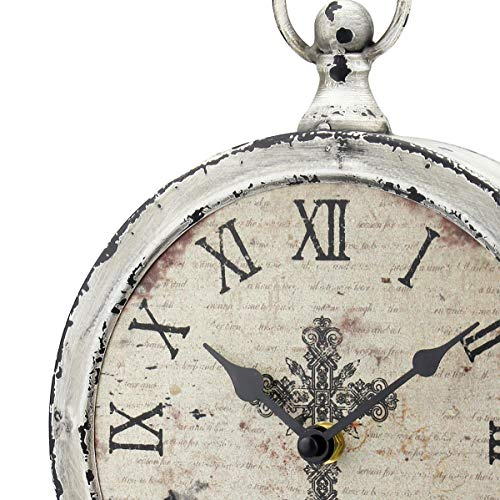 Stonebriar Large 12 Inch Decorative Battery Operated Table Top Clock With Roman Numerals And Antique Finish 12 Worn White 0 0