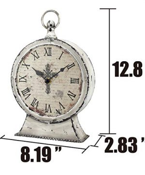Stonebriar Large 12 Inch Decorative Battery Operated Table Top Clock With Roman Numerals And Antique Finish 12 Worn White 0 1 300x360
