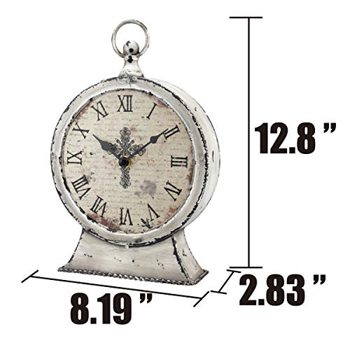 Stonebriar Large 12 Inch Decorative Battery Operated Table Top Clock With Roman Numerals And Antique Finish 12 Worn White 0 1
