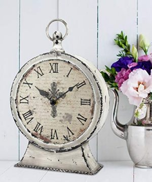 Stonebriar Large 12 Inch Decorative Battery Operated Table Top Clock With Roman Numerals And Antique Finish 12 Worn White 0 2 300x360