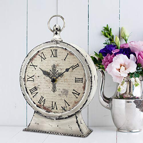 Stonebriar Large 12 Inch Decorative Battery Operated Table Top Clock With Roman Numerals And Antique Finish 12 Worn White 0 2