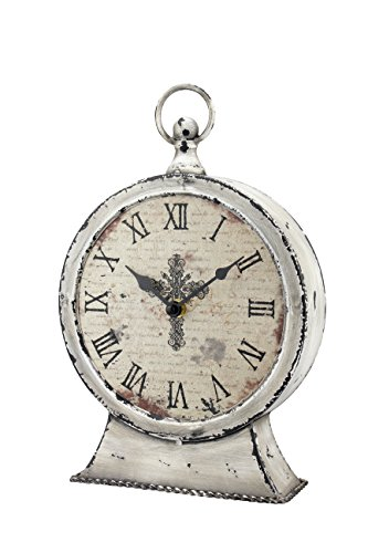 Stonebriar Large 12 Inch Decorative Battery Operated Table Top Clock With Roman Numerals And Antique Finish 12 Worn White 0