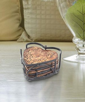 Stonebriar Rustic Wooden Heart Shape Coaster Set With Metal Holder Set Of 6 Brown 7 Piece 0 1 300x360