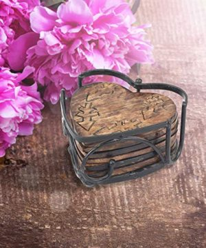 Stonebriar Rustic Wooden Heart Shape Coaster Set With Metal Holder Set Of 6 Brown 7 Piece 0 2 300x360