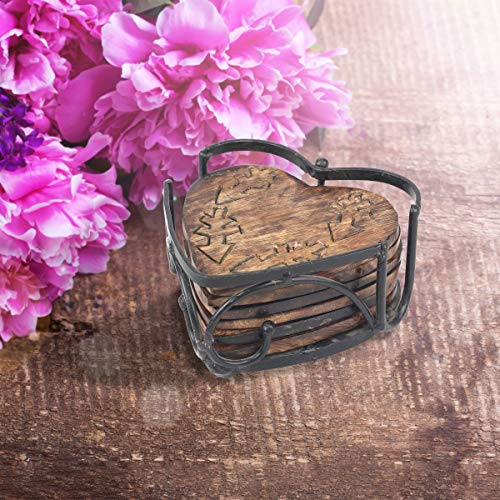 Stonebriar Rustic Wooden Heart Shape Coaster Set With Metal Holder Set Of 6 Brown 7 Piece 0 2