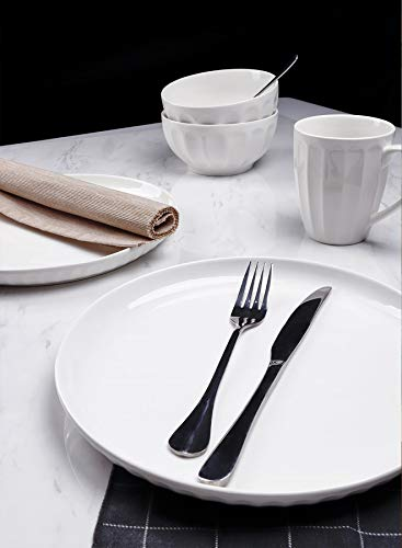Sweese 156001 Porcelain Fluted Dinner Plates 10 Inch Set Of 6 White 0 2