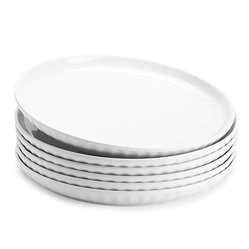 Sweese 156001 Porcelain Fluted Dinner Plates 10 Inch Set Of 6 White 0