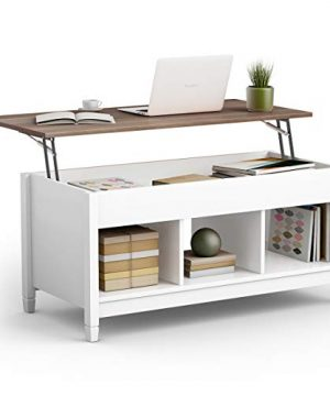 TANGKULA Wood Lift Top Coffee Table Modern Coffee Table WHidden Compartment And Open Storage Shelf For Living Room Office Reception Room Lift Coffee Table White 0 300x360