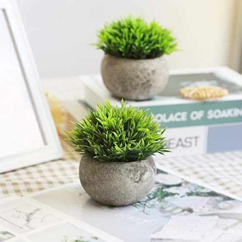 THE BLOOM TIMES 2 Pcs Fake Plants For BathroomHome Office Decor Small Artificial Faux Greenery For House Decorations Potted Plants 0 2