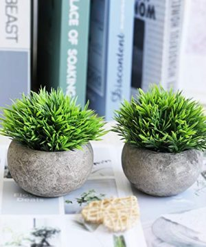 THE BLOOM TIMES 2 Pcs Fake Plants For BathroomHome Office Decor Small Artificial Faux Greenery For House Decorations Potted Plants 0 3 300x360