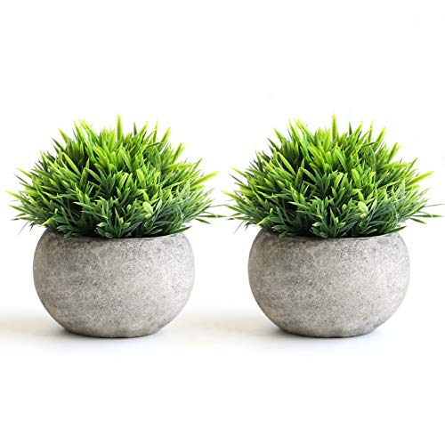 THE BLOOM TIMES 2 Pcs Fake Plants For BathroomHome Office Decor Small Artificial Faux Greenery For House Decorations Potted Plants 0