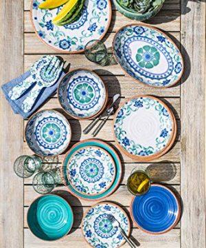 TarHong Rustic Swirl Dinner Plate Turquoise 105 Melamine Set Of 6 0 0 300x360