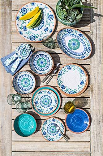 TarHong Rustic Swirl Dinner Plate Turquoise 105 Melamine Set Of 6 0 0