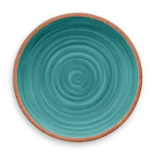 TarHong Rustic Swirl Dinner Plate Turquoise 105 Melamine Set Of 6 0 1