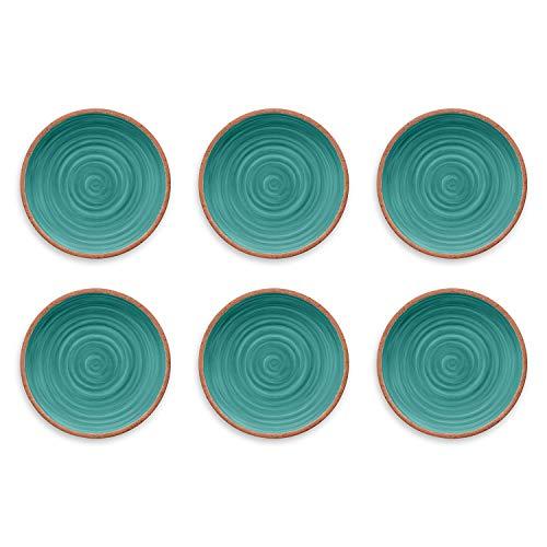 TarHong Rustic Swirl Dinner Plate Turquoise 105 Melamine Set Of 6 0