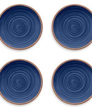 Tarhong Melamine Dinnerware Dinner Plates Set Of 4 Choose From Colorful MoroccanSouth AmericanAtlanticLemon Patterns 100 BPA Free Shatterproof Indigo Rustic Swirl 0 0 300x360