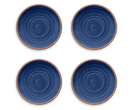 Tarhong Melamine Dinnerware Dinner Plates Set Of 4 Choose From Colorful MoroccanSouth AmericanAtlanticLemon Patterns 100 BPA Free Shatterproof Indigo Rustic Swirl 0 0