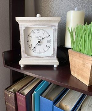 Tasse Verre Rustic Shelf Clock Quiet For Bedroom Table Or Desk 9x7 Farmhouse Decor Distressed White Washed Wood Silent Office Fireplace Mantel Living Family Room AA Battery Operated Non Digital 0 0 300x360