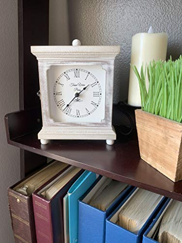 Tasse Verre Rustic Shelf Clock Quiet For Bedroom Table Or Desk 9x7 Farmhouse Decor Distressed White Washed Wood Silent Office Fireplace Mantel Living Family Room AA Battery Operated Non Digital 0 0