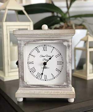 Tasse Verre Rustic Shelf Clock Quiet For Bedroom Table Or Desk 9x7 Farmhouse Decor Distressed White Washed Wood Silent Office Fireplace Mantel Living Family Room AA Battery Operated Non Digital 0 2 300x360