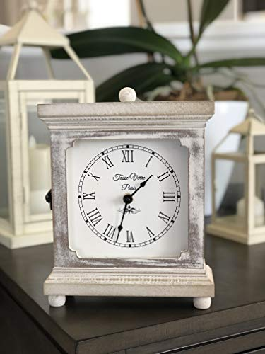 Tasse Verre Rustic Shelf Clock Quiet For Bedroom Table Or Desk 9x7 Farmhouse Decor Distressed White Washed Wood Silent Office Fireplace Mantel Living Family Room AA Battery Operated Non Digital 0 2