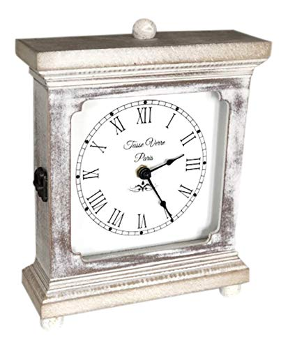 Tasse Verre Rustic Shelf Clock Quiet For Bedroom Table Or Desk 9x7 Farmhouse Decor Distressed White Washed Wood Silent Office Fireplace Mantel Living Family Room AA Battery Operated Non Digital 0