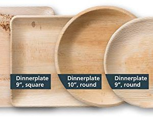 TheClearConscience 9 Palm Leaf Dinner Plates Round 50 Plates Bamboo Wood Style Biodegradable Disposable 0 1 300x229