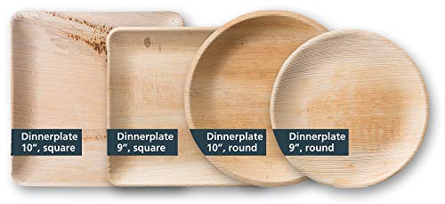 TheClearConscience 9 Palm Leaf Dinner Plates Round 50 Plates Bamboo Wood Style Biodegradable Disposable 0 1
