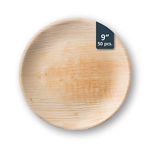 TheClearConscience 9 Palm Leaf Dinner Plates Round 50 Plates Bamboo Wood Style Biodegradable Disposable 0